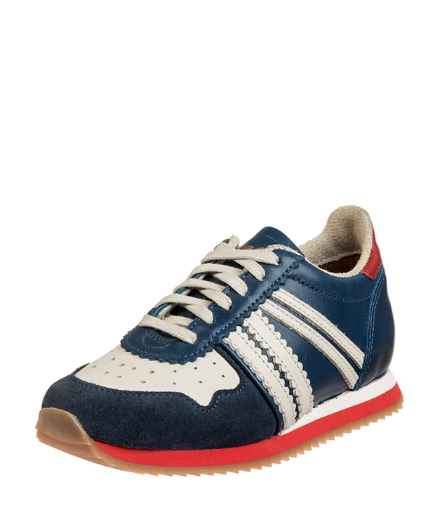 ZEHA BERLIN Streetwear Marathon calf leather child medium blue / cream / red