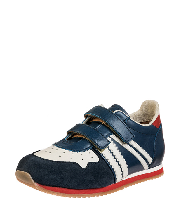 ZEHA BERLIN Streetwear Marathon Kalbsleder Kind blau / cremeweiß / rot