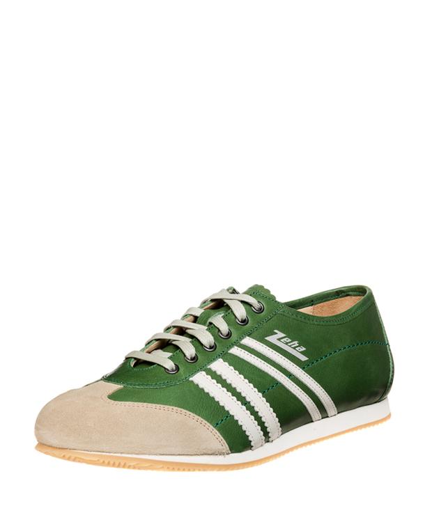 ZEHA BERLIN Streetwear Klassiker Kalbsleder Unisex grün / cremeweiß / beige