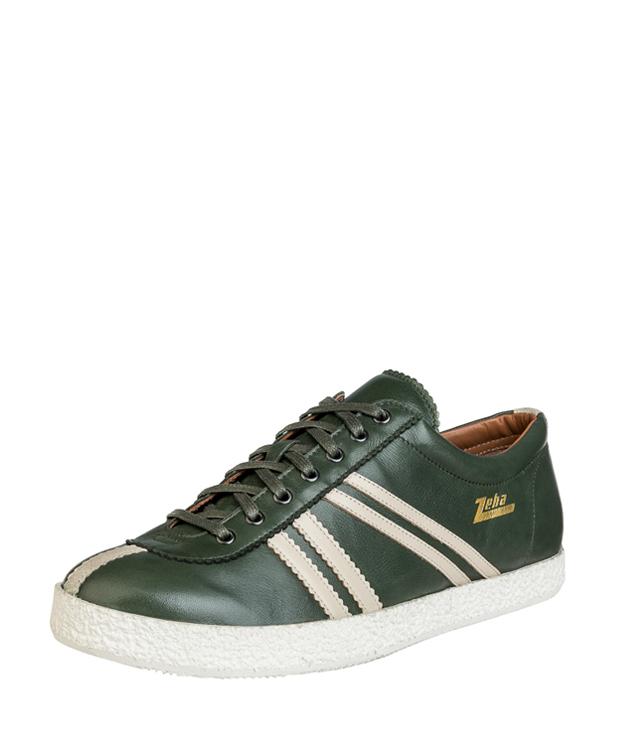 ZEHA BERLIN Streetwear Rekord Kalbsleder Unisex dunkelgrün / cremeweiß / beige