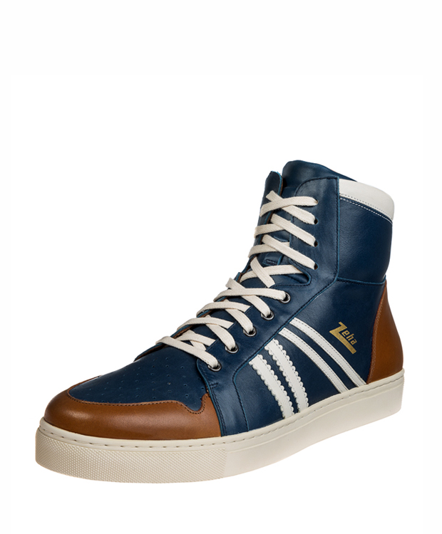 ZEHA BERLIN Streetwear Basketballer calf leather Unisex blue / cream / cognac