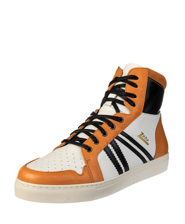ZEHA BERLIN Streetwear Basketballer Unisex cremeweiß / schwarz / orange