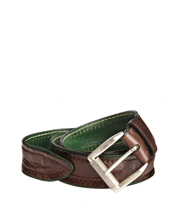 ZEHA BERLIN Accessoires Belts cow hide leather Unisex dark brown / dark green