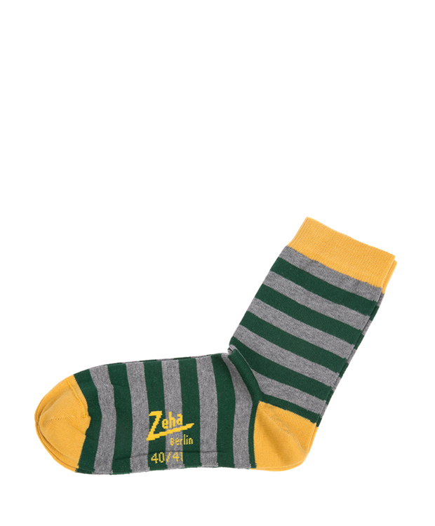 ZEHA BERLIN Accessoires Socks Unisex green  grey / yellow