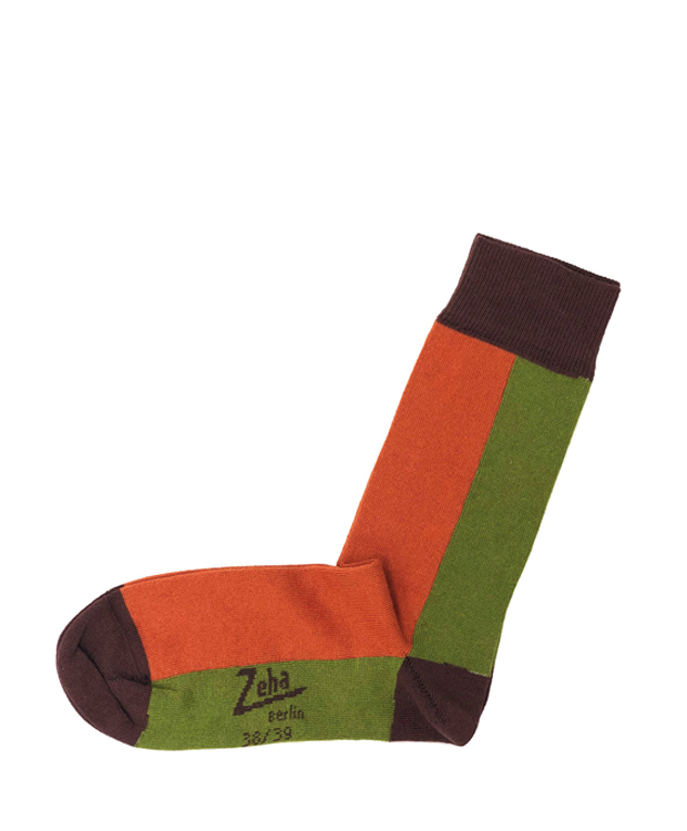 ZEHA BERLIN Accessoires Socks Unisex light green / orange / dark brown
