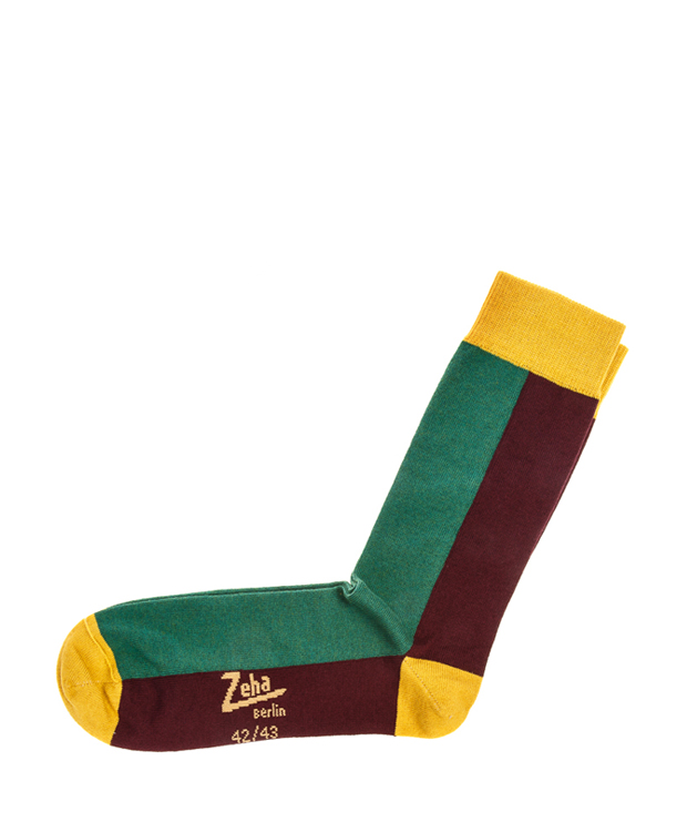 ZEHA BERLIN Accessoires Socks Unisex bordeaux / green / yellow