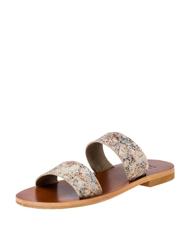 ZEHA BERLIN Urban Classics Sandale Frau beige / braun / blau gemustert