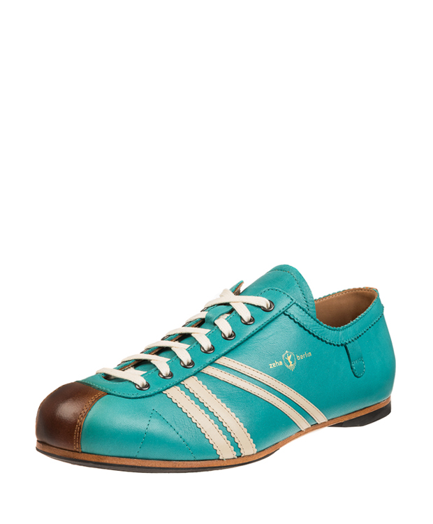 ZEHA BERLIN Carl Häßner Club calf leather Unisex turquoise / cream / cognac