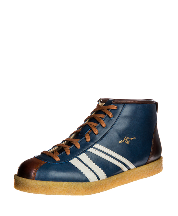 ZEHA BERLIN Trainer Trainer high calf leather Unisex medium blue / cream / cognac