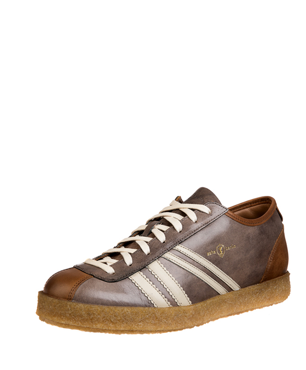 ZEHA BERLIN Trainer football shoe cow leather, flank Unisex light grey / cream / cognac