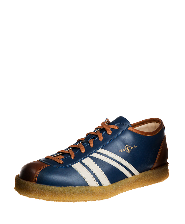 ZEHA BERLIN Trainer Trainer low calf leather Unisex medium blue / cream / cognac
