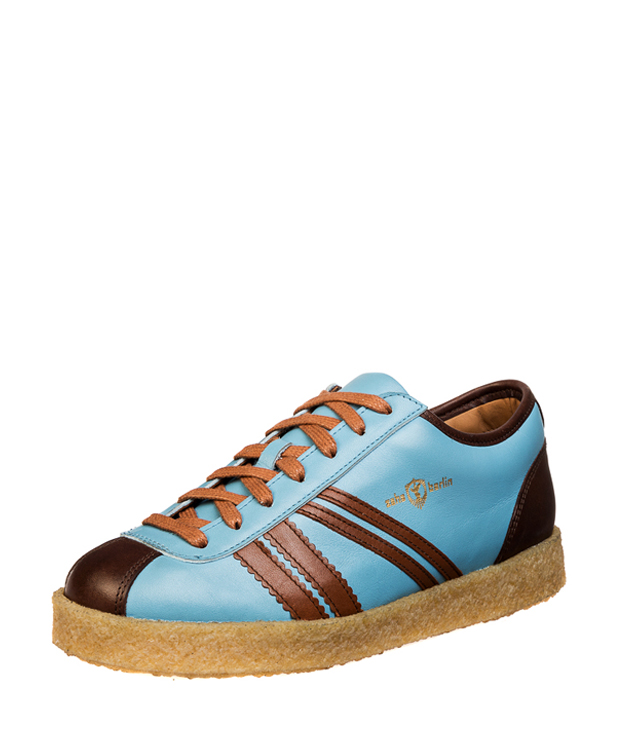ZEHA BERLIN Trainer Trainer low calf leather Unisex light blue / cognac / brown