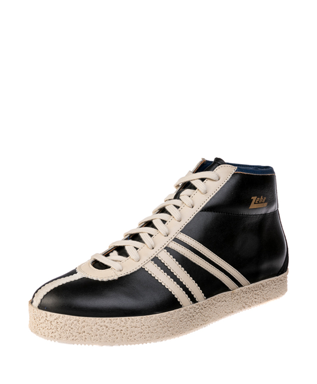 ZEHA BERLIN Streetwear Rodler calf leather Unisex black / creamwhite