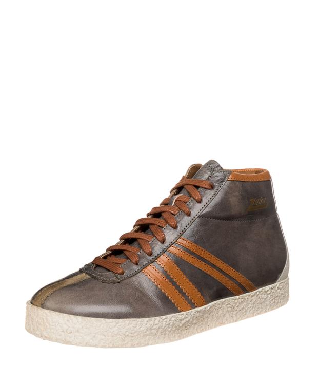 ZEHA BERLIN Streetwear Rodler Kalbsleder Unisex grau / cognac